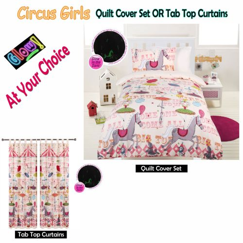 Glow In The Dark Circus Girls Quilt Cover Set or Tab Top Curtains by Happy Kids