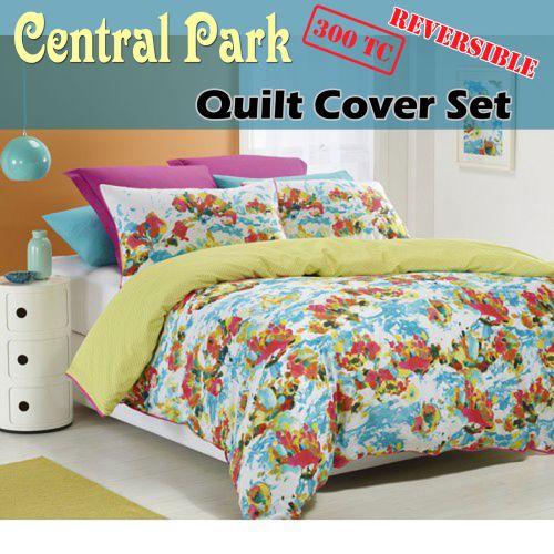 300TC Central Park Reversible Quilt Cover Set