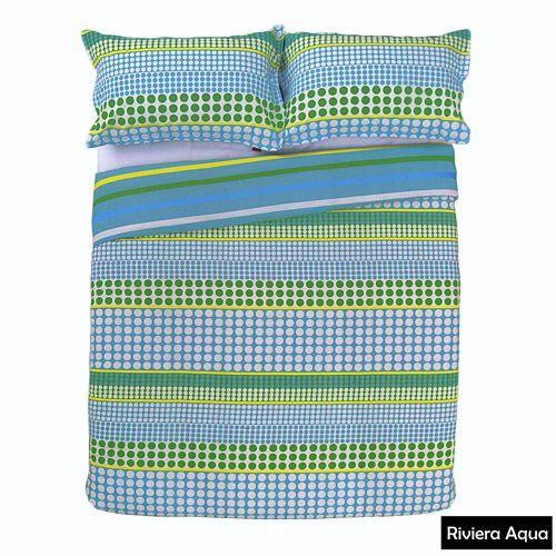Riviera Aqua Reversible Quilt Cover Set by Apartmento