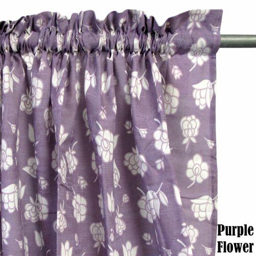 Pair of Rod Pocket Flower Curtains