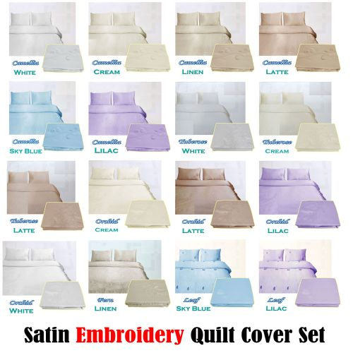 Satin Embroidery Quilt Cover Set