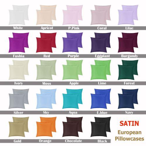 Satin European Pillowcases ( Pair ) by PepperMill