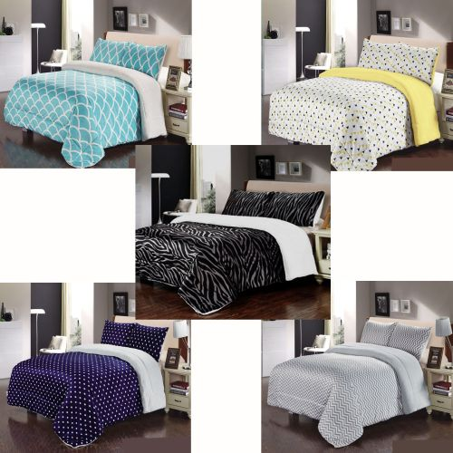 Sherpa Blanket / Coverlet Set Double/Queen by IDC Homewares