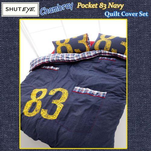 Chambray Pocket 83 Navy Quilt Cover Set by Shuteye