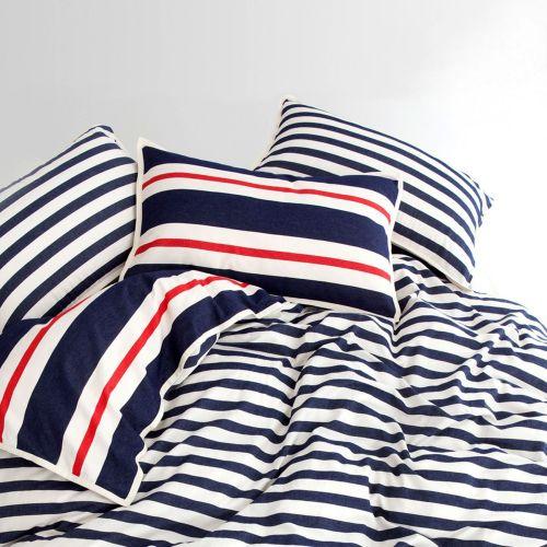 Stripe Graphic 93 Navy Cotton Quilt Cover Set by Shuteye