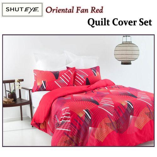 Oriental Fan Red Quilt Cover Set by Shuteye