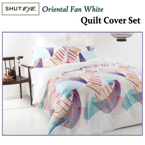 Oriental Fan White Quilt Cover Set by Shuteye