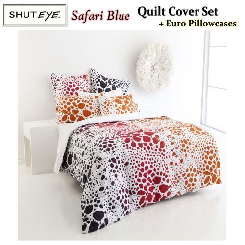Safari Red Quilt Cover Set + Euro Pillowcases by Shuteye
