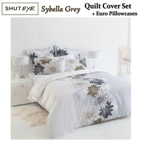 Sybella Grey Quilt Cover Set + Euro Pillowcases by Shuteye