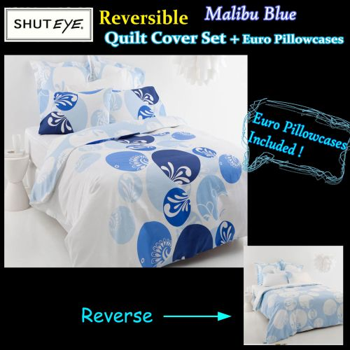 Malibu Blue Quilt Cover Set + Euro Pillowcases by Shuteye