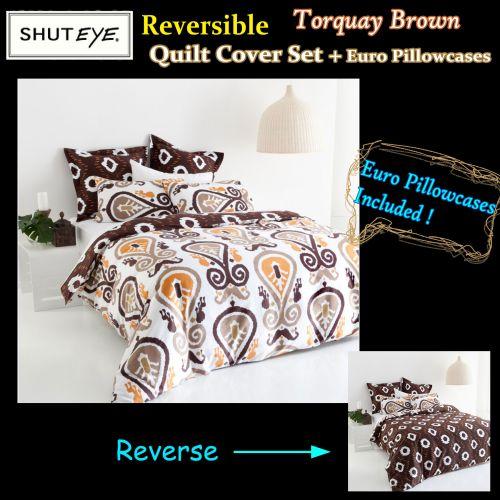 Torquay Brown Quilt Cover Set + Euro Pillowcases by Shuteye