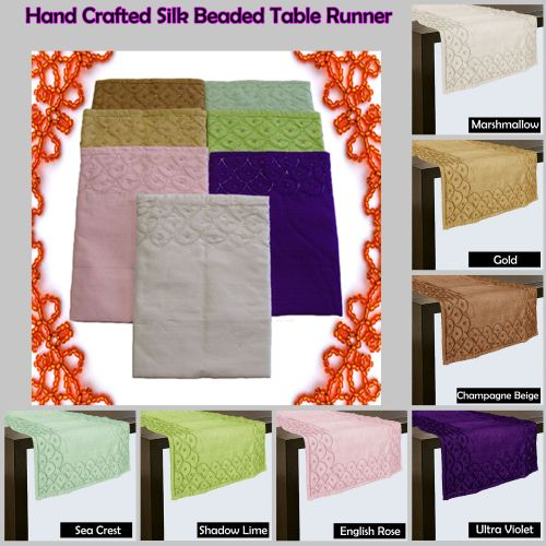 Hand Crafted Silk Blend Beaded Table Runner