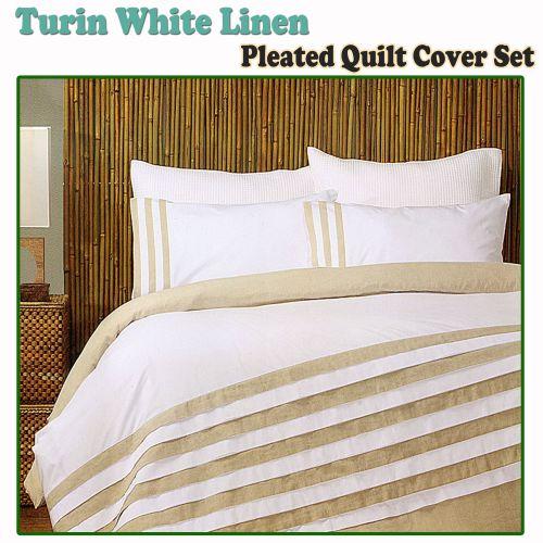 Turin White Linen Quilt Cover Set