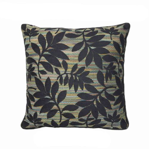 Ujjain Floral Filled Cushion Black by Rapee