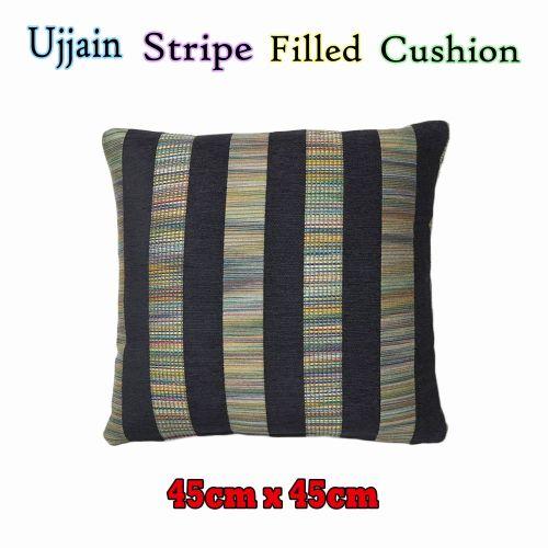 Ujjain Stripe Filled Cushion Black by Rapee
