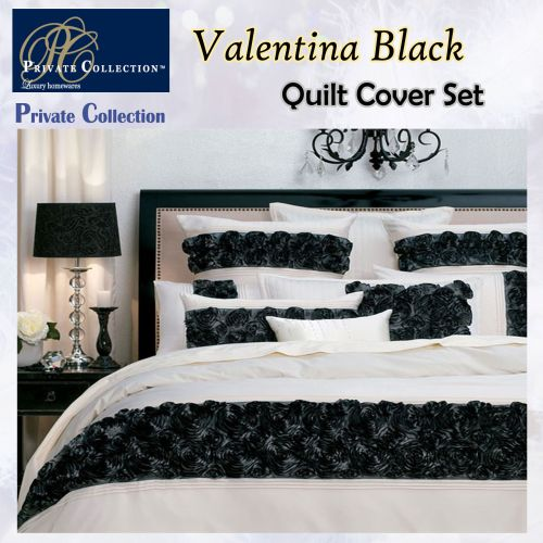 Valentina Black Quilt Cover Set by Private Collection