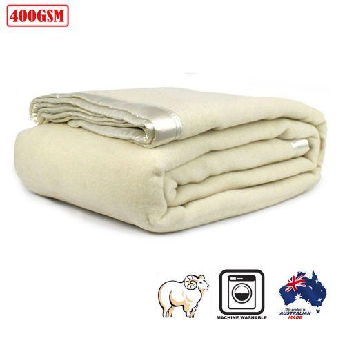 400GSM Australian Washable Wool Blanket Ivory by Jason
