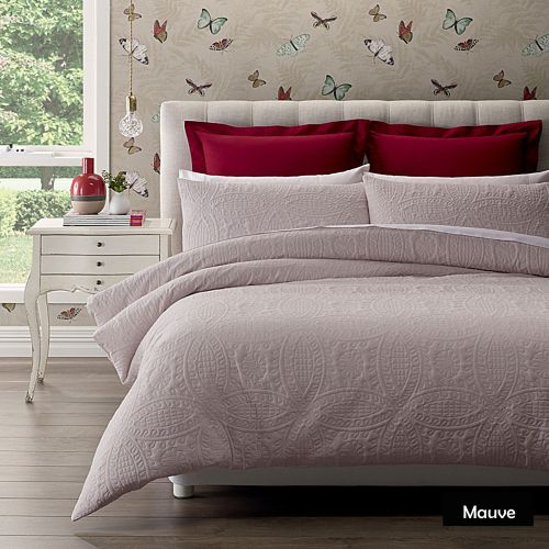 Wedding Ring Mauve Quilt Cover Set King by Phase 2