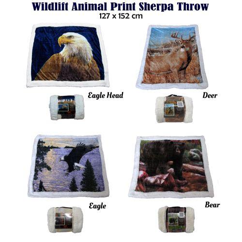 Wildlife Animal Print Sherpa Throw 127x152cm
